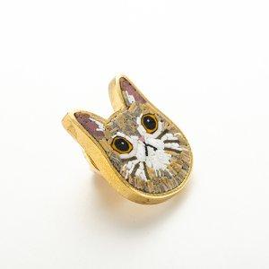 画像2: なかの雅章「猫 ピンブローチ(真鍮)」