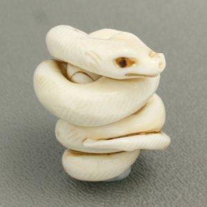 画像1: ローレン・スタンプ Snake Ojime (蛇緒締め)